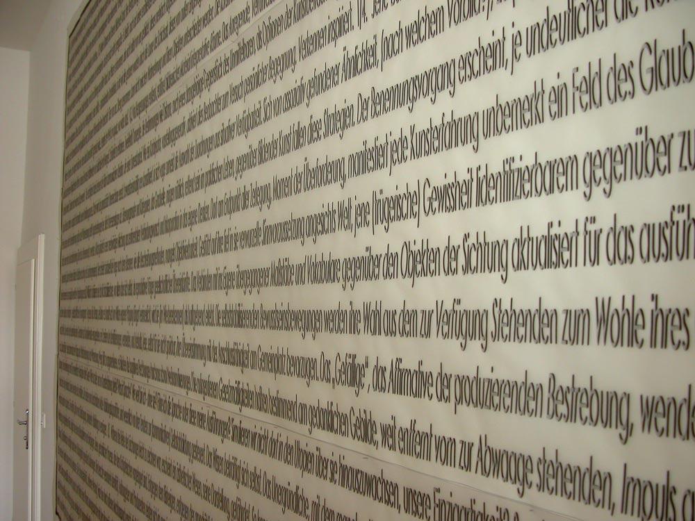 Herwig Steiner (1956L), Kunst der Attrappe, Ausschnitt Textfeld A, Kunstraum Stephansplatz6 Wien, 2018 © Foto: Herwig Steiner (1956L)