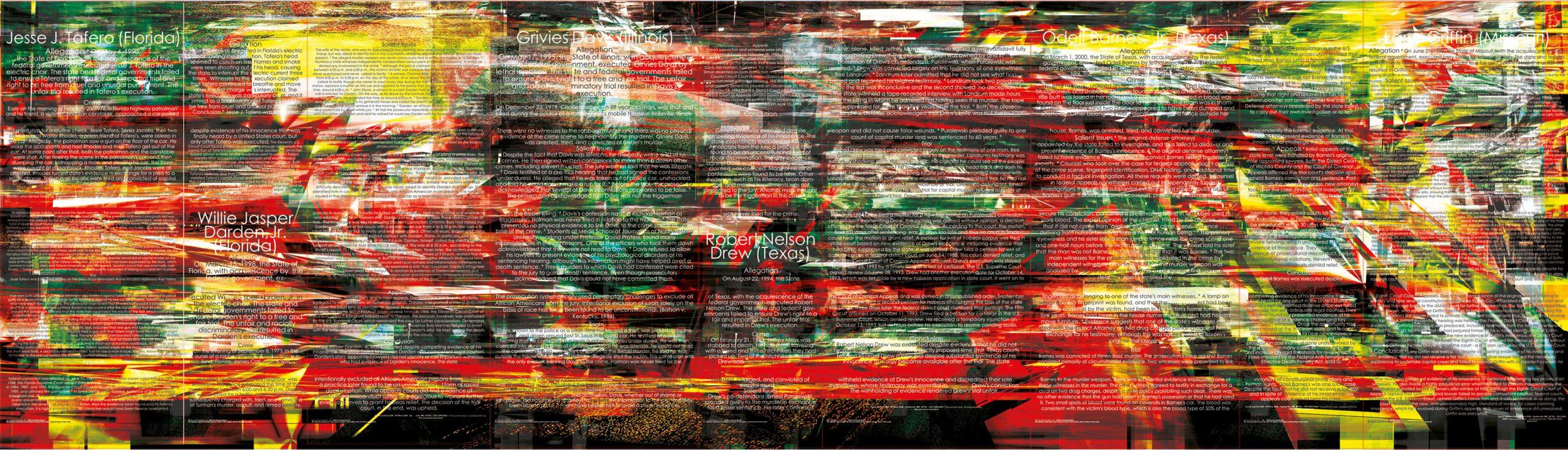 Herwig Steiner (1956L), Not one more execution / Große Glaswand / Entwurf / Installation – Glaswände mit 5 Türen / 13-teilig / computergenerierter Glasdruck / 2004/05 / 321,0 x 155,5 cm + 325,4 x 1136,05 cm + 325,4 x 170,4 cm / Korridor ehem. Kanzlei Manak & Partner