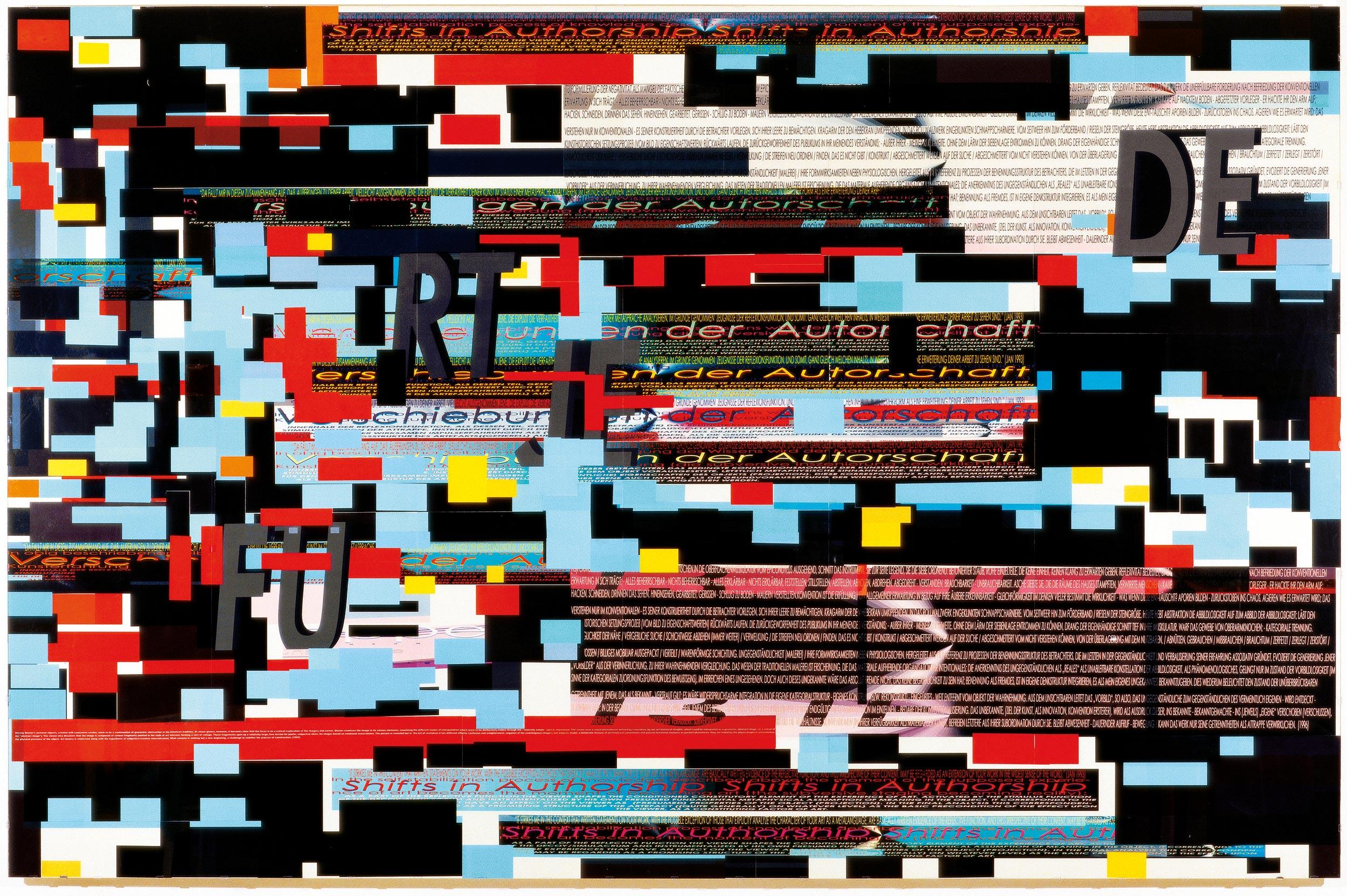 Herwig Steiner (1956L), Pre-Print 178 / engl / dt / 8 / 2000 / computergenerierter Print / mehrlagig / Folie auf Platte / Acrylglas / 169,5x259,6cm Foto: Ebenhofer