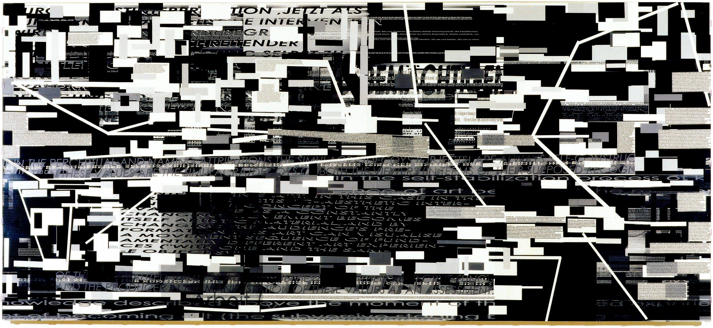 Herwig Steiner (1956L) Pre-Print 204b2 / Ω / 5 / SW / engl / dt / 11 / 2000 / computergenerierter Print / mehrlagig / Folie auf Platte / Acrylglas / 125,8x280cm Foto: Ebenhofer