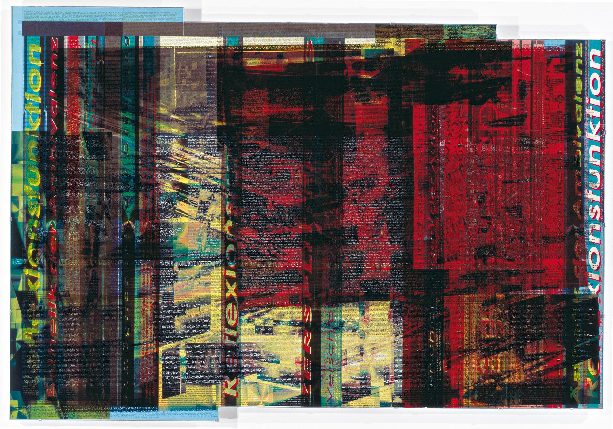 Herwig Steiner (1956L), Pre-Print 57P1 Textfields Battlefields / engl / dt / 2003 / computergenerierter Print / mehrlagig / Folie auf Platte / Acrylglas / 166,4x240cm Foto: Schachinger
