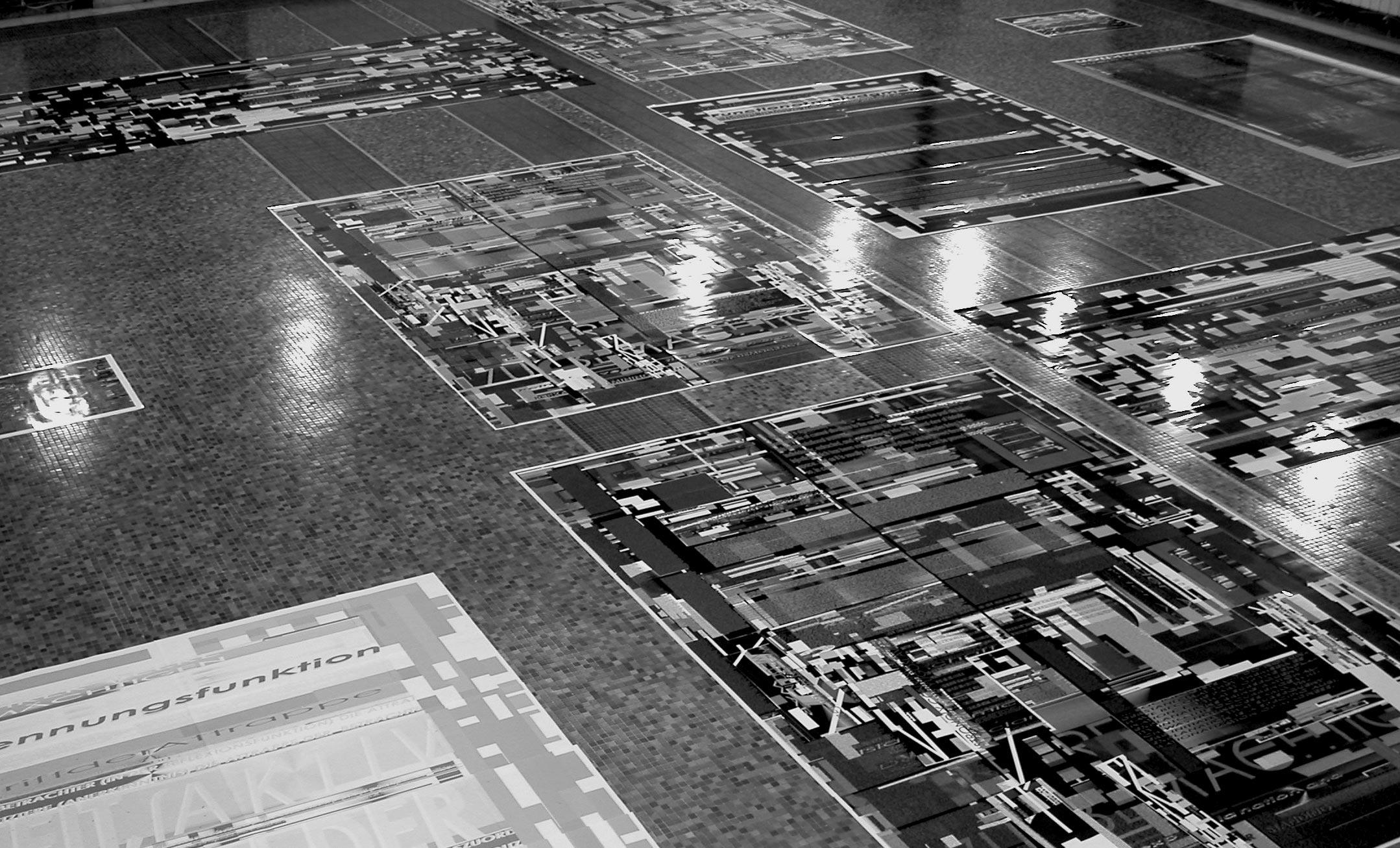 Herwig Steiner (1956L) / Textfields/Battlefields Discourses – Yugoslavia / Floorinstallation / computergenerierte Prints auf Papier / Muzej Istorije Jugoslavije, Beograd/SRB / 2002