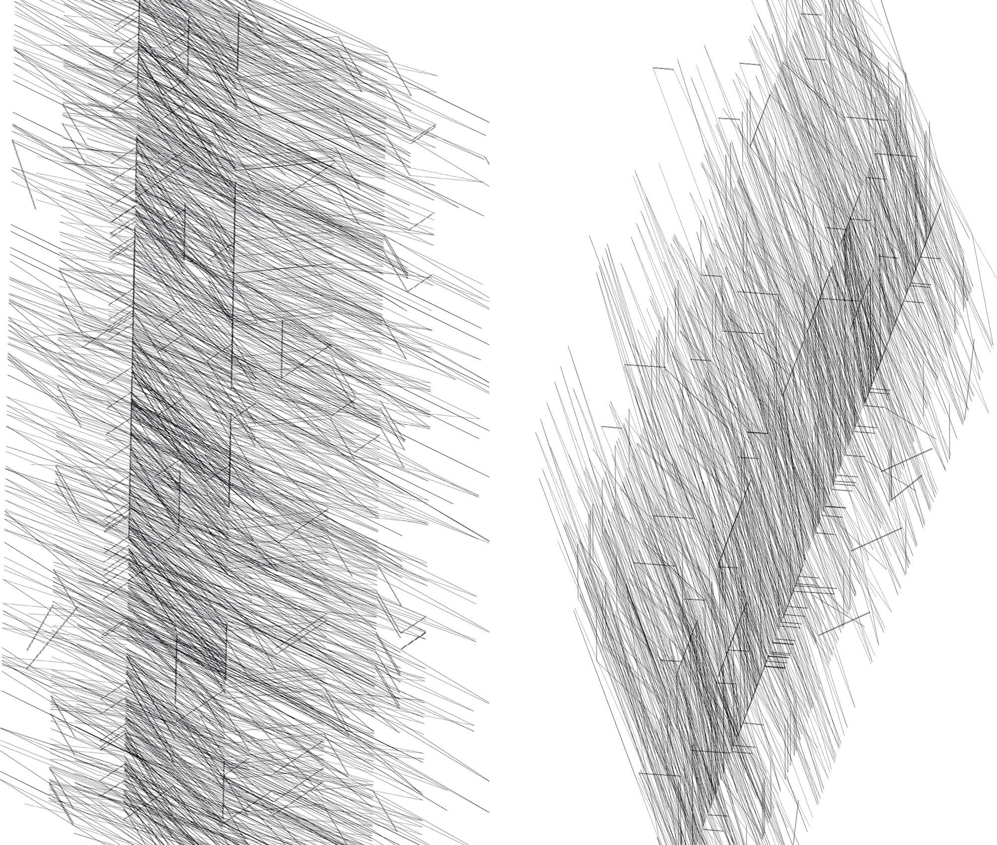 Herwig Steiner(1956L), Konzeptuelle Zeichnung{34}, Ausschnittkonstellation 2 Textbewegungsprotokoll, 2019