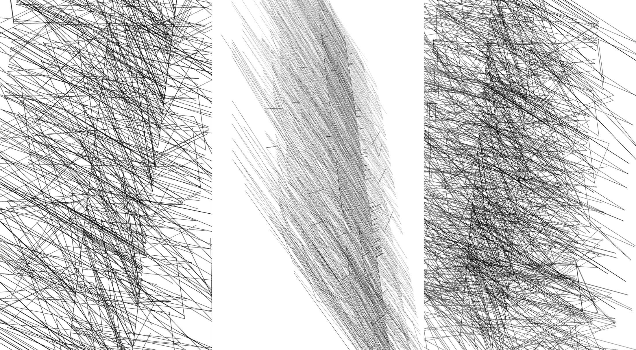 Herwig Steiner(1956L), Konzeptuelle Zeichnung{34}, Ausschnittkonstellation 7 Textbewegungsprotokoll, 2019