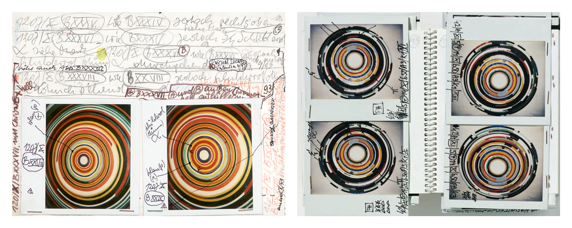 Abb. links: Verzeichnis ausgeführter Attrappen /Ausschnitt aus | detail from : Archivhefte 1991-1993 <br> SO / 91 - 92 /120J / X / B XXVII , 9/1992, Mischtechnik, Collage auf Platte | mixed media, collage on panel, ø 198,5 cm, Sammlung Museum Moderner Kunst, Wien| Collection of Museum of Modern Art, Vienna <br> Ganz rechts |extrem right: SO / 91 - 92 /120J / X / B XXXVII / A , 10/1993, Mischtechnik, Collage auf Platte | mixed media, collage on panel, ø 198,5 cm, Sammlung Museum der Schönen Künste, Budapest| Collection of Museum of Fine Arts, Budapest. Foto | photo: Herwig Steiner <br> Abb. rechts: Notizen zu Kunst der Attrappe 1980-1990; photo: Schachinger