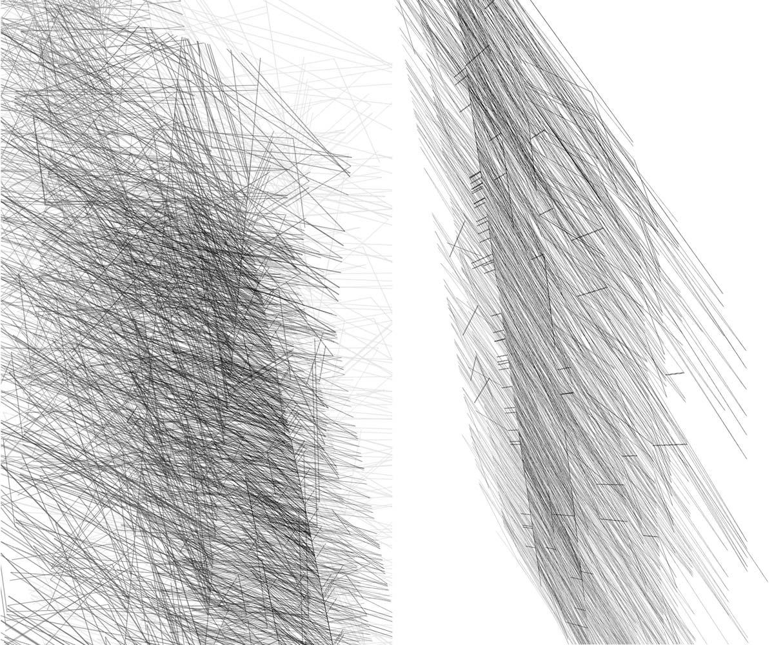 Herwig Steiner(1956L), Konzeptuelle Zeichnung{34}, Ausschnittkonstellation 1 Textbewegungsprotokoll, 2019