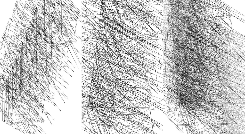 Herwig Steiner(1956L), Konzeptuelle Zeichnung{34}, Ausschnittkonstellation 5a Textbewegungsprotokoll, 2019
