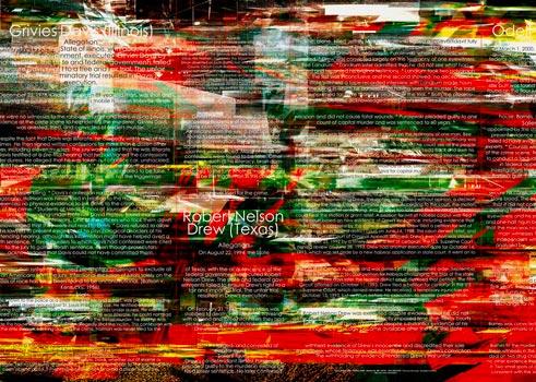 © Herwig Steiner (1956L) / Not one more execution / Installation - Große Glaswand mit 5 Türen / 13-teilig / computergenerierter Glasdruck / Detailausschnitt / 2004/05 / 321,0 x 155,5 cm + 325,4 x 1136,05 cm + 325,4 x 170,4 cm / Korridor: ehem. Kanzlei Manak & Partner / Foto: Herwig Steiner (1956L)