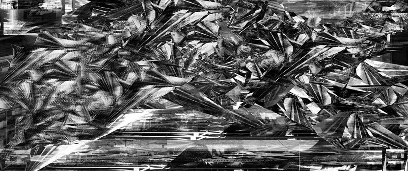 Herwig Steiner(1956L), Scenery, Schnappschuss 70vk, computergenerierte Zeichnung, (229,6x111,8cm), 2020